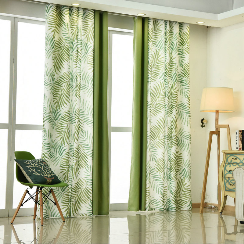 American Styles Kitchen Curtains Leaves Pattern Country Styles Window Treatment Drape For Living Room Printed