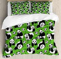Soccer Duvet Cover Set Funny Panda Animals Playing with Balls Hand Drawn Style Hearts and Stars Decorative 4 Piece Bedding Set
