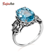 Szjinao Custom 100% 925 Sterling Silver Rings for Women Wedding Engagement Accessories Aquamarine Jewelry Tribal Decoration