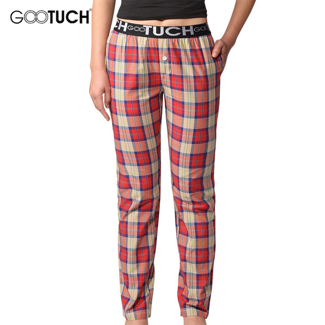 Pantalones del salón Pantalones Mujeres Pantalones de Pijamas pijama Ropa de Dormir de Algodón A Cuadros Pantalones de Pijama Ropa de Hogar Comodidad Transpirable G 2506