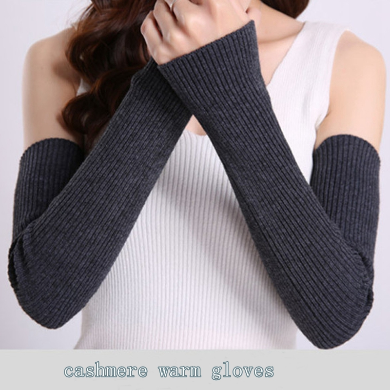 Women Autumn Winter Arm Warmers Ladies Solid Fingerless Long Gloves Thicken Warm Mittens Knitted Sleeves Casual Wrist Gloves