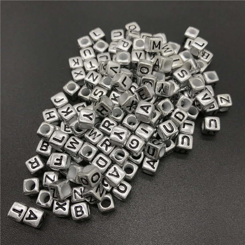 100pcs 6mm Mix Letter Beads Square Alphabet Beads Acrylic Beads DIY Jewelry Making For Bracelet Necklace
