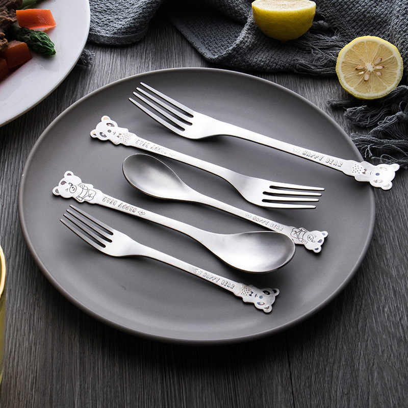 Children Cartoon Stainless Steel Cutlery Toddlers Multifunction Environmental Restaurant Tableware Newborn Feeding Safe Utensils