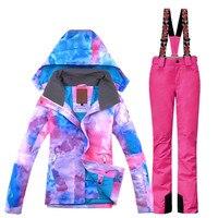 Gsou снег лыжный костюм для женщин сноуборд женщины s куртка лыжный костюм лыжный спорт Водонепроницаемый ветрозащитная куртка сноуборд + Шта