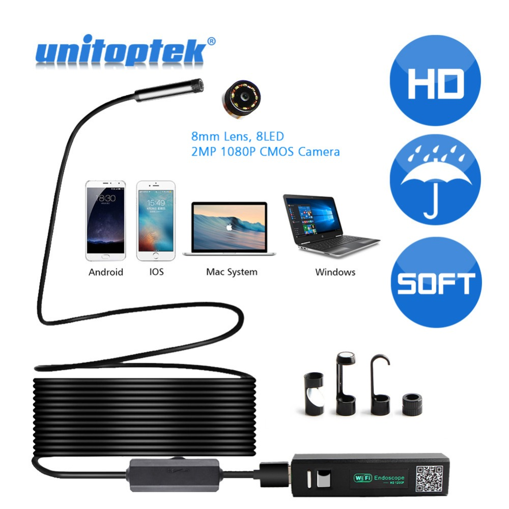 2M 5M HD 1200P Wireless WiFi Endoscope Mini Waterproof Soft Cable Inspection Camera 8mm Lens 8 LED Borescope For Android PC