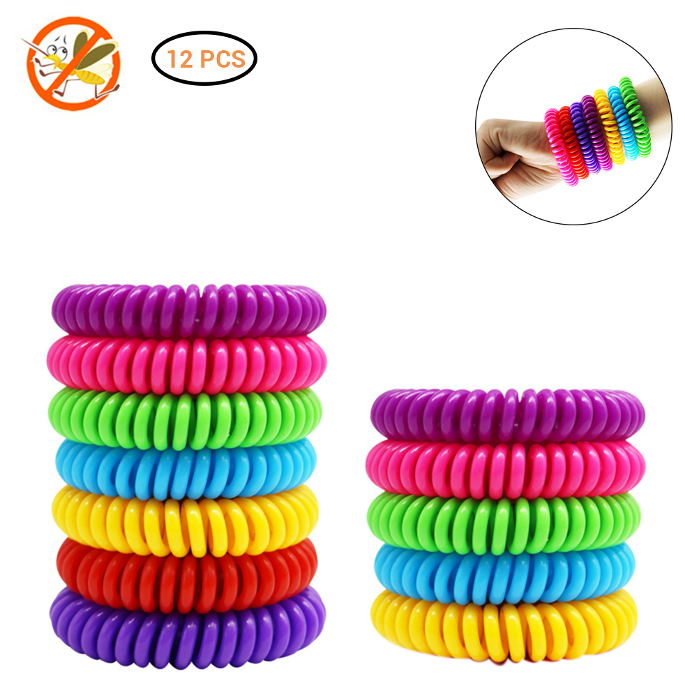 12Pcs Natural Safe Mosquito Repellent Bracelet Waterproof Spiral Wrist Band Outdoor Indoor Insect Protection Baby Pest Control(China)