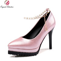 2017 Elegant Women Pumps Stylish String Bead Pointed Toe Thin Heels Pumps Nice Blue Silver Pink