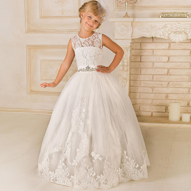 2017 Spring Floor Length Ball Gown Kids First Communion   Dresses   with Beading Sash Cute Lace Tulle   Flower     Girls     Dresses