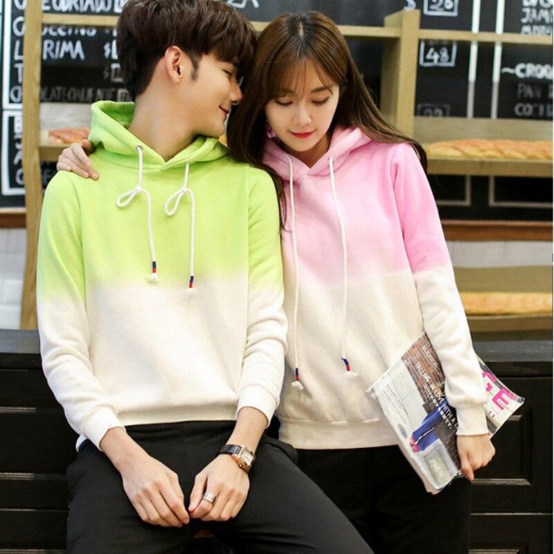 EFINNY Autumn Winter Hooded Sweatshirts For Lovers Couple Casua Tops Pink Blue Hoodies Women Men Gradient color plus size S-3XL
