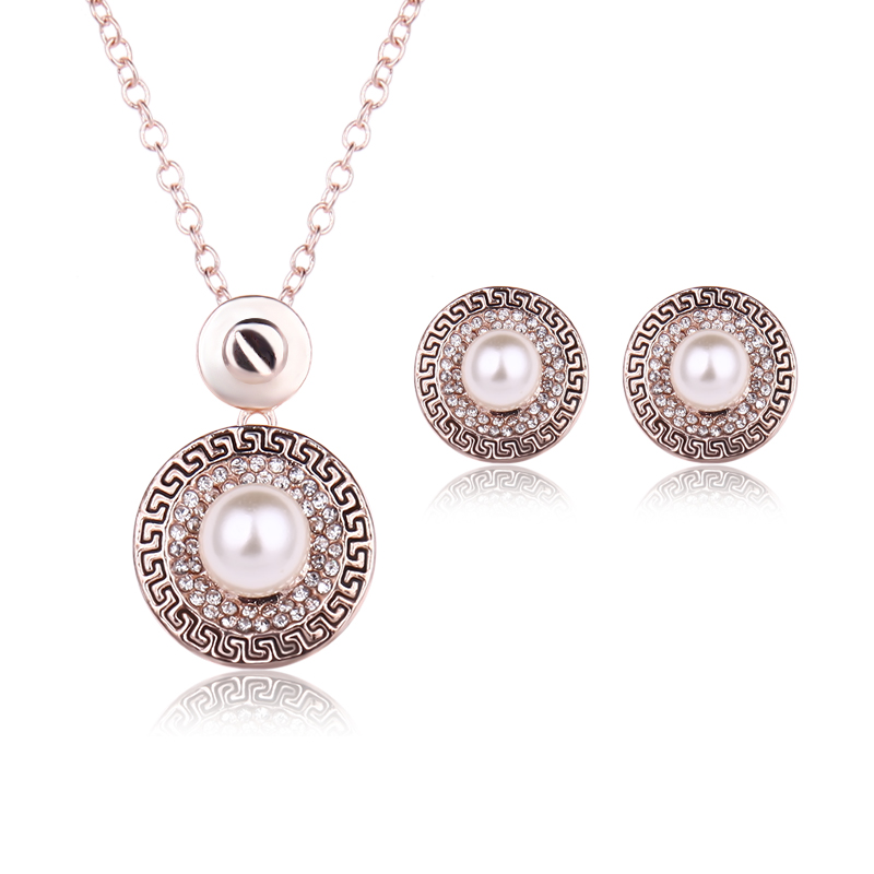for aliexpress com from buy set sets gold women product jewelry original retro color pearls store new imitation earrings necklace classic