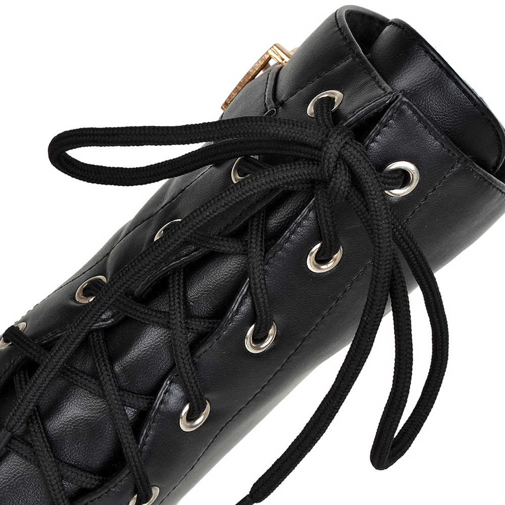 Meotina Kış kısa çizmeler Kadın ayak bileği bağcığı Botları Toka Moda Çizmeler Platformu yüksek topuklu bayan ayakkabısı Siyah Kahverengi Boyutu 34-43