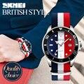 Skmei moda casual hombres reloj de cuarzo de la correa de nylon resistente al agua relojes de los hombres vestido de pulsera