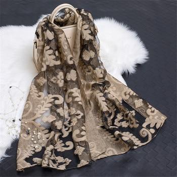 2018 Women's Luxury Brand Plain Embroider Floral Organza Scarves Chiffon Soft Muffler Muslim Hijab Bufandas Sunscreen Wrap Sjaal
