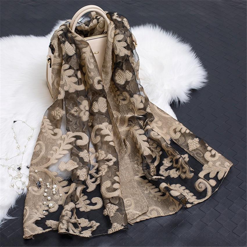 2019 Women's Luxury Brand Plain Embroider Floral Organza   Scarves   Silk Chiffon Muffler Muslim Hijab Bufandas Sunscreen   Wrap   Sjaal