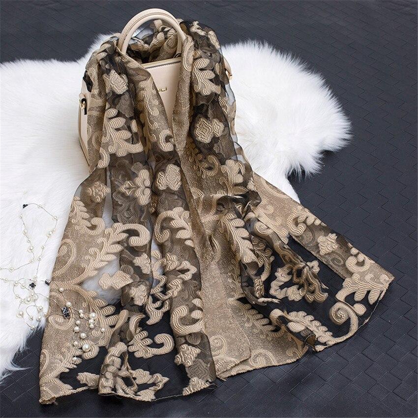 2019 Women's Luxury Brand Plain Embroider Floral Organza   Scarves   Silk ChiffonMuffler Muslim Hijab Bufandas Sunscreen   Wrap   Sjaal