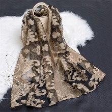 2020, marca de lujo para mujeres, Bufandas de Organza Floral bordadas, seda, gasa, silenciador hijab musulmán, Bufandas, protector solar, chal Sjaal