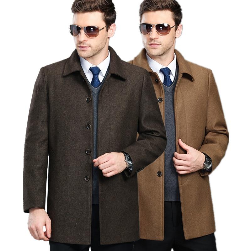 남성 가을 겨울 양모 겉옷 모직 코트 플러스 사이즈 농화 중형 플러스 벨벳 오버 코트 Abrigo de lana Casaco de la