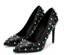 Brand Black Pumps Woman Sheepskin High Heels Star Rhinestone Pumps High Heels 10CM Heel font b