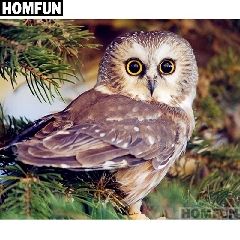 Full Round Drill 5D DIY Diamond Painting Animal Owl Embroidery Cross Stitch