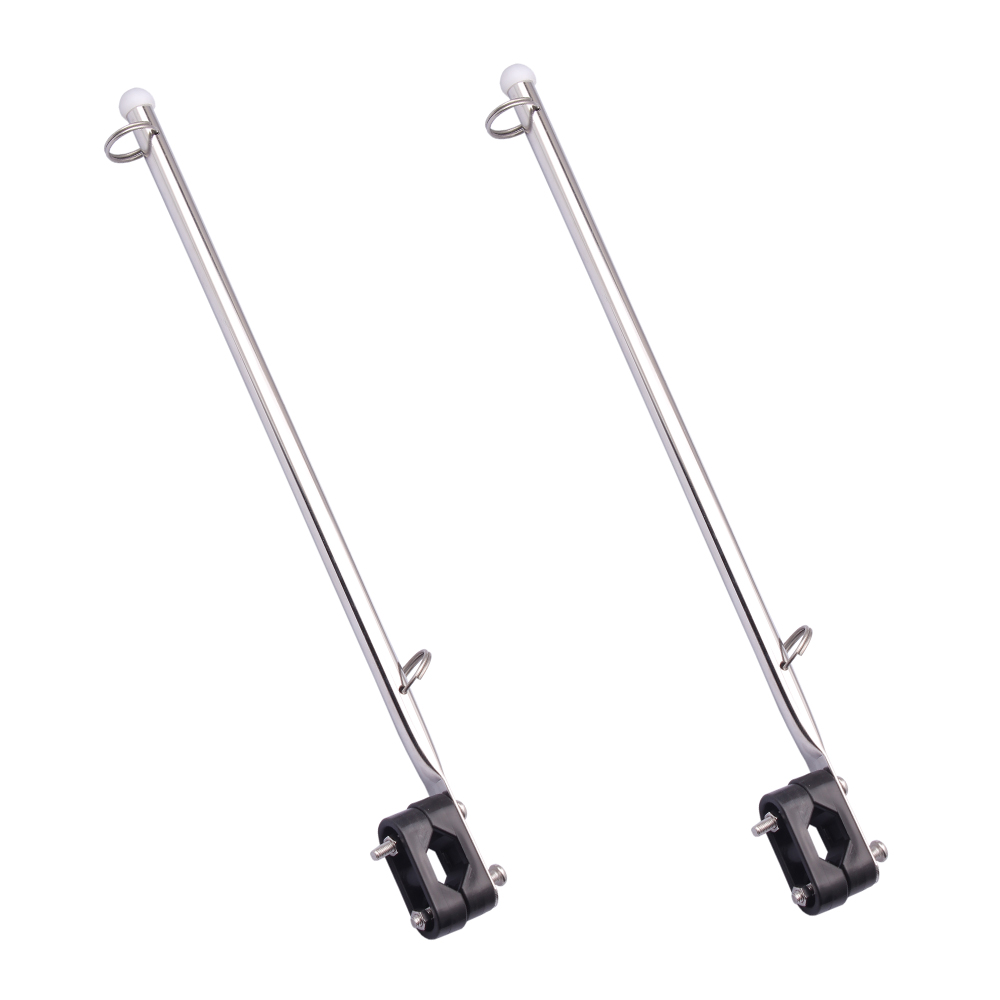 2 pieces marine-made Stainless Steel Rail Mount Boat Pulpit Staff (7/8 - 1 1/4) , boat yacht marine flagpole