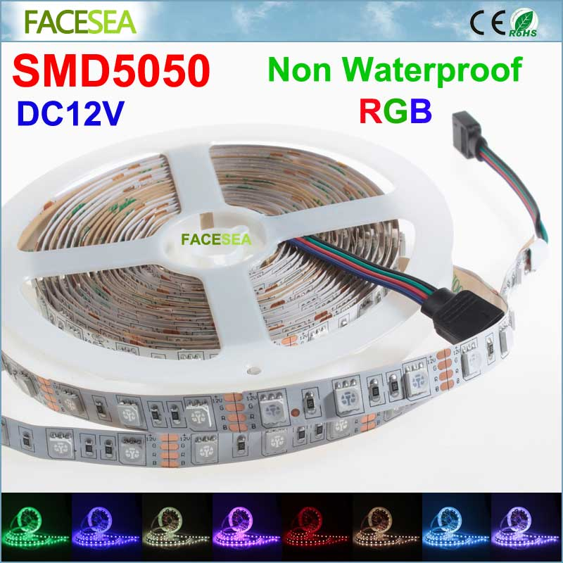 5M/lot Super bright SMD 5050 RGB LED Strip 60LED/m Flexible Light non waterproof tape DC 12V for home indoor super slim 60 led 120cm 12v soft smd light strip blue led