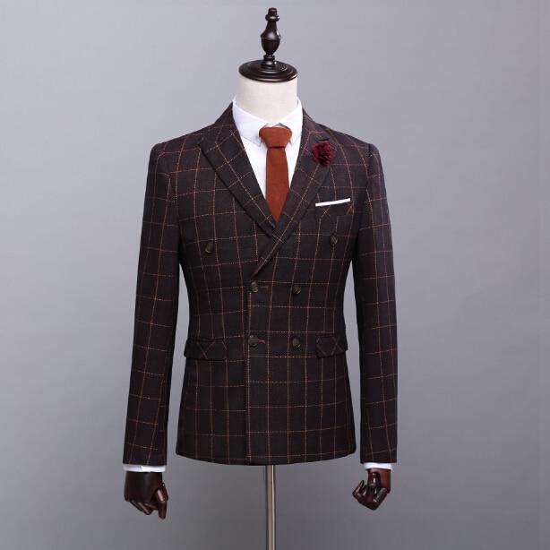 2017 Real Photo Tuxedos Plaid Luxury Three Pieces Bridegroom Tuxedos Men Suits Cummerbund (Suit+Pants+Vest)