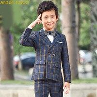 Fashion Gentleman Style Custom Made Boy'S Suits Tailor Suit Blazer Suits Boy 5 Piece England Grid Clothing Performances Garcon