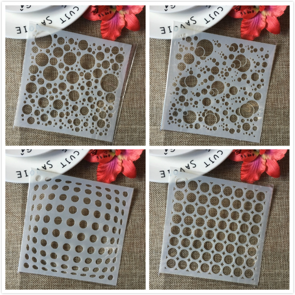 4Pcs 13cm 3D Bubble Round Dot Circle DIY Layering Stencils Painting Scrapbook Coloring Embossing Album Decorative Template