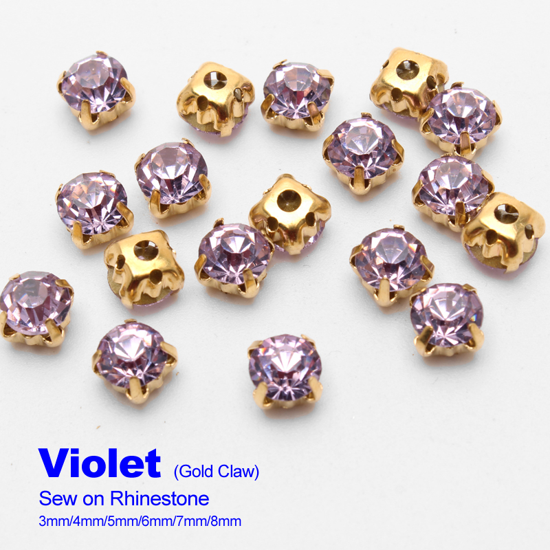 Sew on Rhinestones Violet Gold claw 4mm/5mm/6mm/7mm/8mm use for DIY accessories free shipping