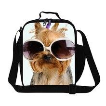 """Прохладный Собака печати обед мешок для женщин, модные девушки изоляцией """"ланч-бокс"""" сумка для школы, мальчики crossbody обед контейнер"""