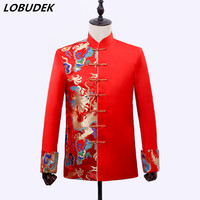 2018 Chinese style Suit Jackets Male Wedding Groom dress Red Embroidery Slim Coat Prom Party Host DS Costume Singer stage Show
