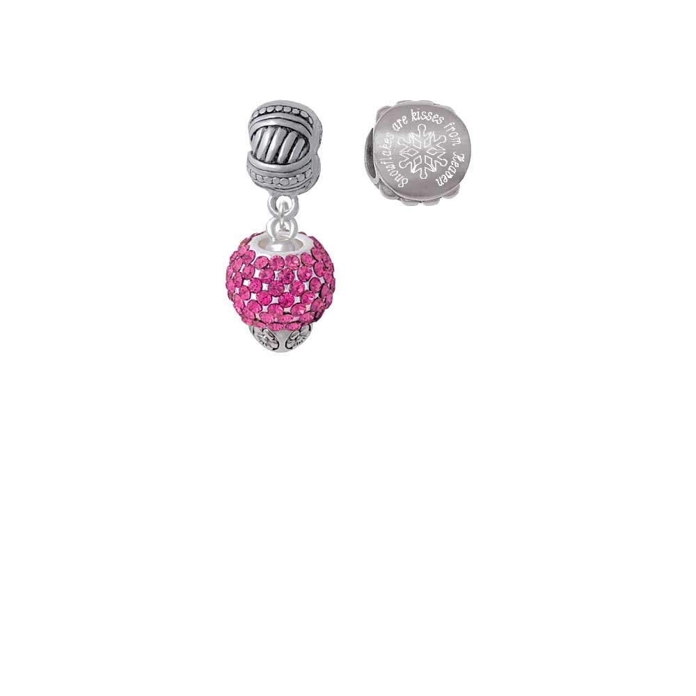 Silvertone Hot Pink Crystal Sparkle Spinner Snowflakes are Kisses from Heaven Charm Beads (Set of 2) easter sparkle 3rd hot pink white dot top rainbow stripe skirt set 1 8y mamh170