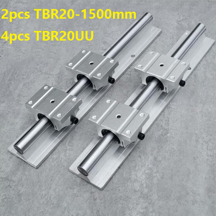 2pcs TBR20 -L 1500mm linear rail guide support + 4pcs TBR20UU linear bearing blocks for CNC router parts linear guide precise linear guide rail 1500mm aluminum linear guide rail