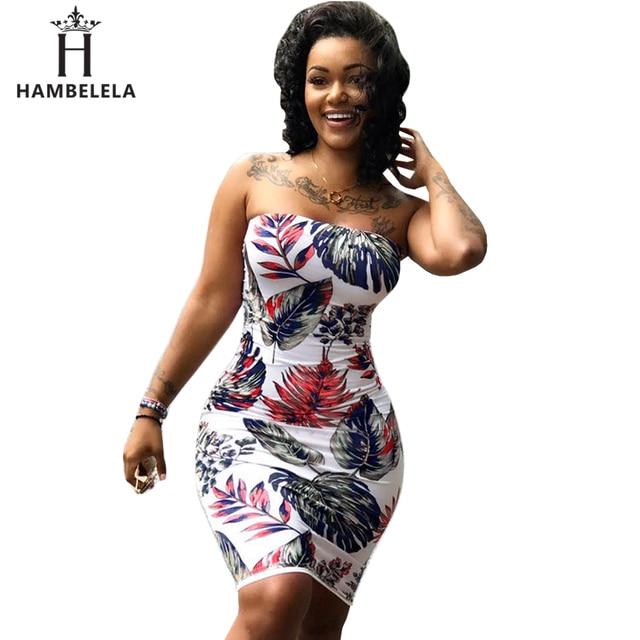 2025c07a8e2 Hambelela épaule dénudée robes d impression africaine Sexy sans bretelles  sans manches dos nu Mini