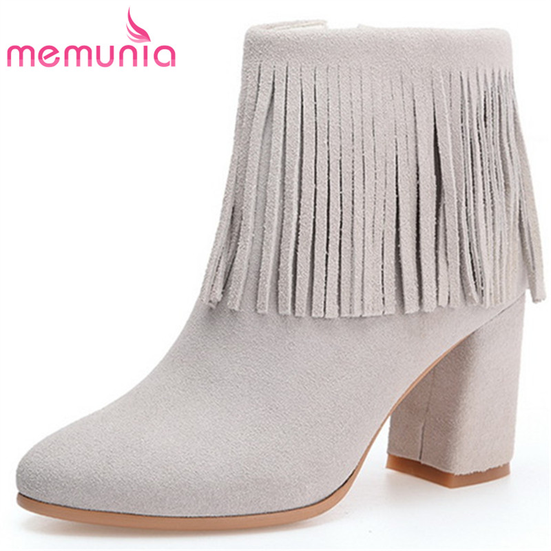 MEMUNIA Top quality ankle boots for women zipper solid high heels shoes woman fashion boots spring autumn cow suede memunia cow leather boots woman top quality ankle boots high heels shoes platform womens boots spring autumn black lace up
