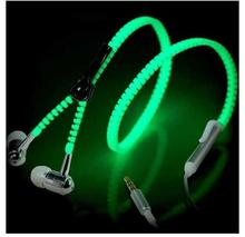 New 6 Color Glow Earphone Luminous Light Metal Zipper Earphone Glow In The Dark for Iphone Samsung Xiaomi MP3 MP4