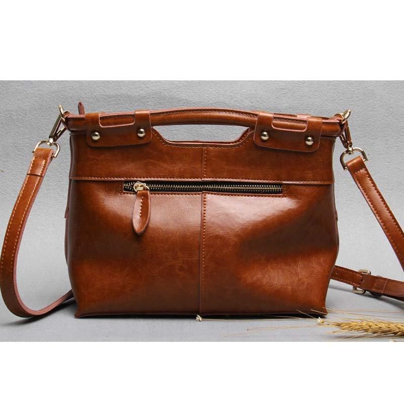 Vintage split lederen tas mode handtas dames draagtas vrouwelijke - Handtassen - Foto 3