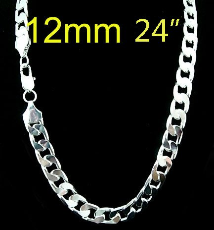 wholesale 12mm necklace for men 24 inch,silver plated High ...