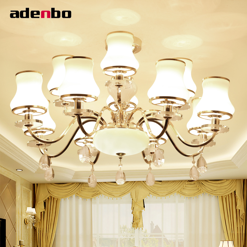 Luxury Modern Crystal Chandeliers LED Living Room Chandelier Lighting Fixtures Gold Plated Hanging Lights With Glass Shade modern crystal chandelier hanging lighting birdcage chandeliers light for living room bedroom dining room restaurant decoration