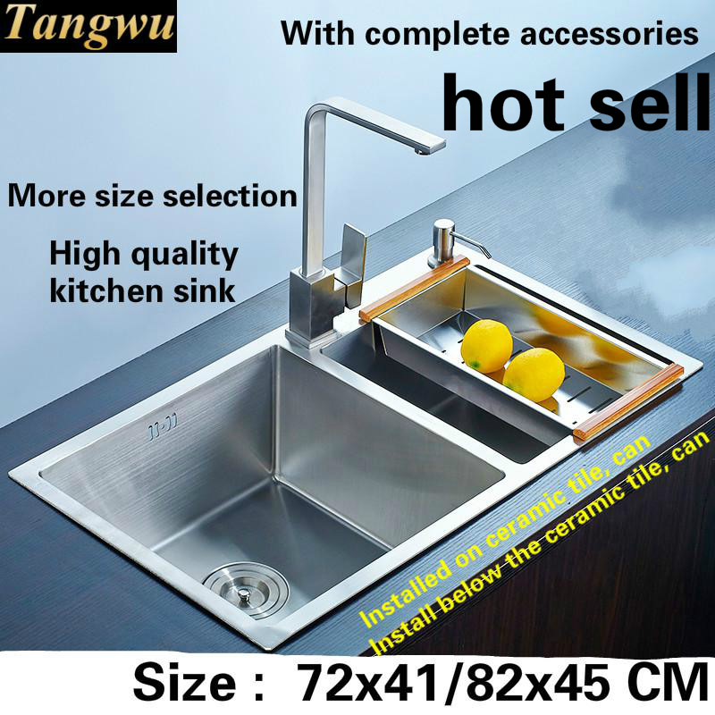 Free shipping High end kitchen sink manual 304 food grade 3 mm thick stainless steel double groove hot sell 72x41/78x43/82x45 CMFree shipping High end kitchen sink manual 304 food grade 3 mm thick stainless steel double groove hot sell 72x41/78x43/82x45 CM