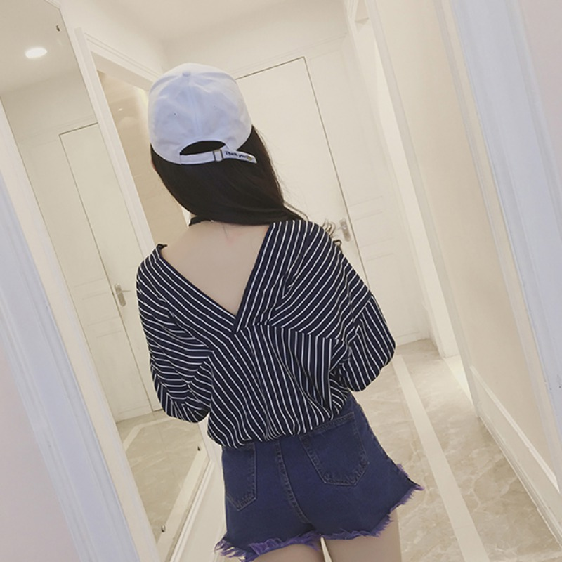 ЛИВА девушка белый полосатый Женские топы и блузки с рукавом три четверти v-образным вырезом Блузки женские рукав летучая мышь спинки Топы