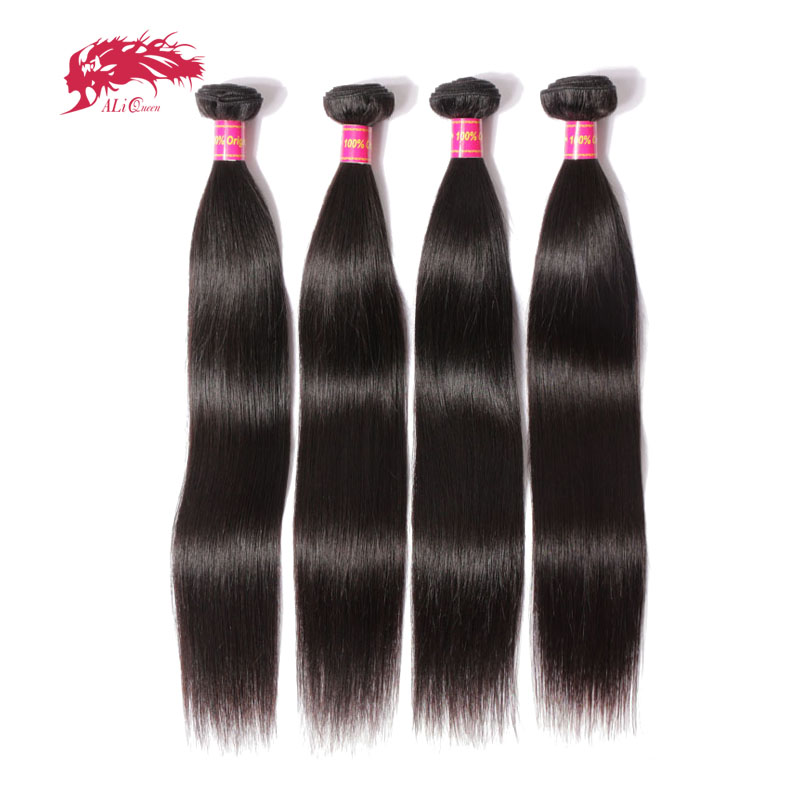 Ali Queen Hair Products 4pcs Lot Natural Color 8~40 In Stock Brazilian Virgin Hair Straight Human Hair Weave Bundles