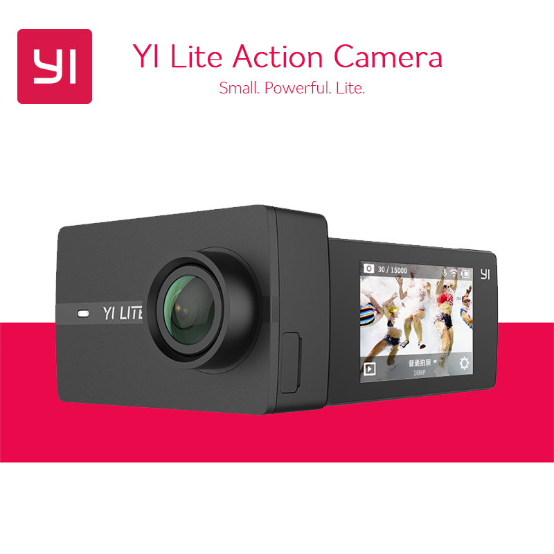 В наличии! Yi Lite действие Камера 16mp Настоящее 4 К спортивные Камера WI-FI 2 дюймов ЖК-дисплей Экран 150 градусов Широкий формат