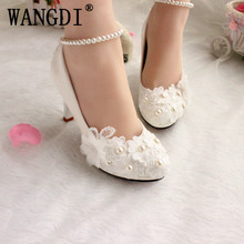 Wedding shoes for women new design ivory lace low high heels flowers pearls  anklet woman bridal shoe dress proms party pumps 693213a84aae