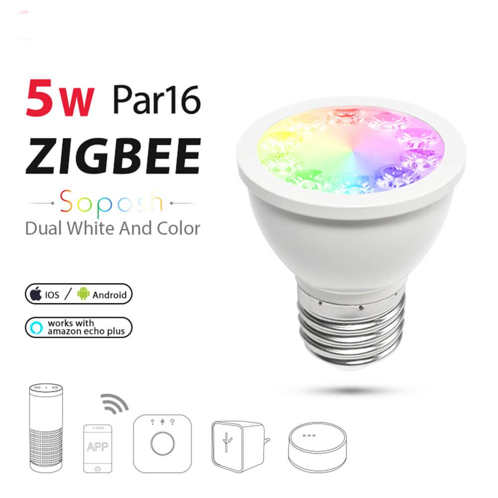 Zigbee dual bianco RGBW lampadina del riflettore 5 w dimmer E27 ha condotto la lampadina AC100-240V intelligente app zll luce per osram Alexa echo Più luce