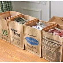 雑貨綿リネンヴィンテージ収納ランドリーバスケットおもちゃの収納ボックスハンドルビンを折る32 × 25.5 ×