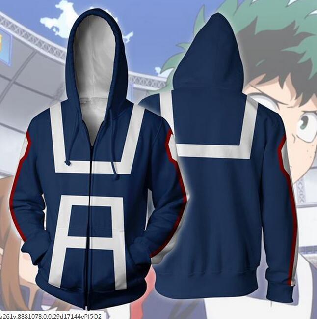 drop ship2018 naruto Boku no/My Hero Academia 3D Hoodies zipper close Pullovers Sweatshirts Anime Funny Cartoon Hoodies US Size