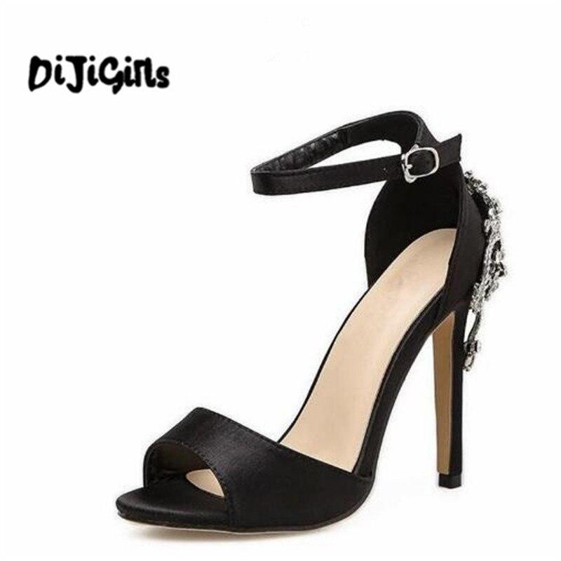 Новые римские сандалии Пряжка на щиколотке роскошный большой кристалл Высокие каблуки Для женщин Пикантные туфли-лодочки на шпильке клуб Свадебная женская обувь