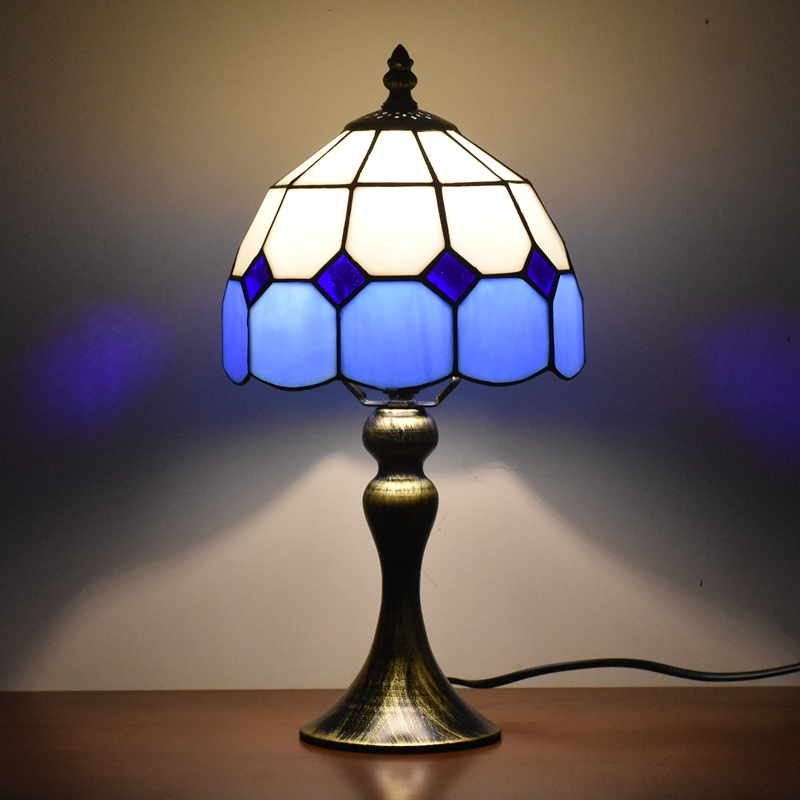 Tiffany Style Night Light 8 inches Small Stained Glass Blue Table Lamp Lighting 15 Inches Height