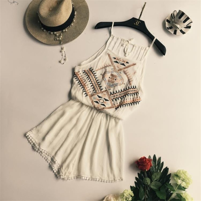 Summer Bohemian National Style Bodysuits Women Fashion Sexy Beach Playsuit Female Strapless bodysuit 4 Colors   Jumpsuit